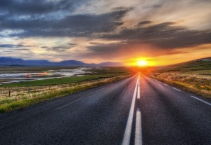 Sunset over the open road